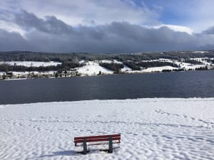 Un banc au milieu de la neige fait face au lac de Joux
